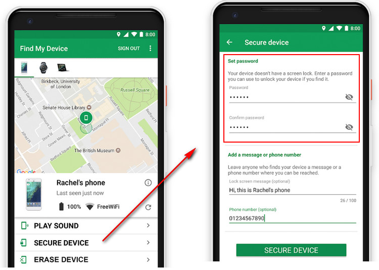 Unlock Android phone with Android Device Manager