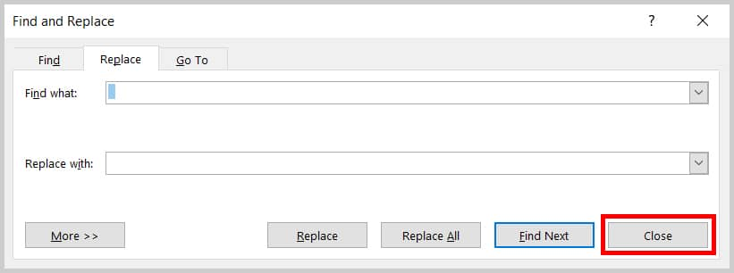 Image of Word 2019 Find and Replace Dialog Box Close Button
