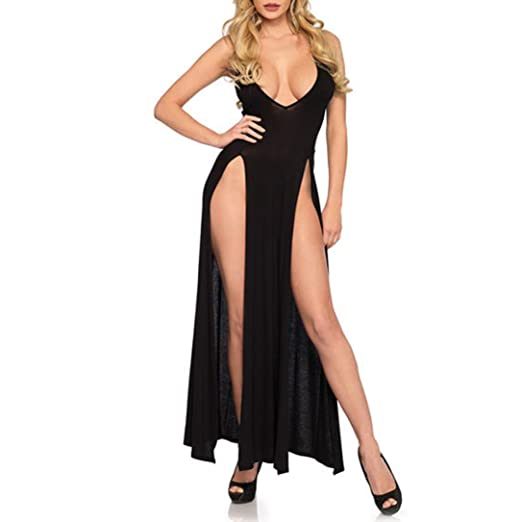 Image result for Keepfit Fashion Hot V-Neck Nightdress, Sexy Sling Lingerie Long Skirt Pajamas for Women Girls