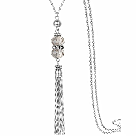 Handmade Jewelry Long Sparkly Crystal Pendant Tassel Necklace Chain for Women 32""