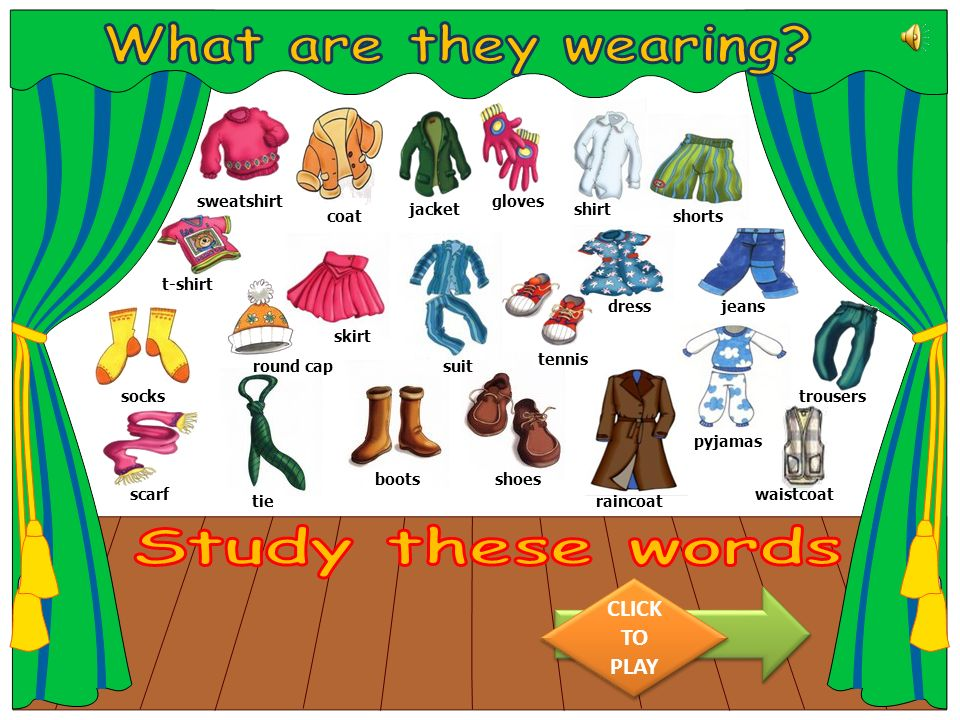 What are they wearing Study these words