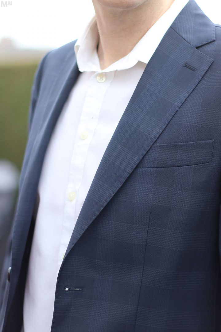 Close up of the blazer check pattern