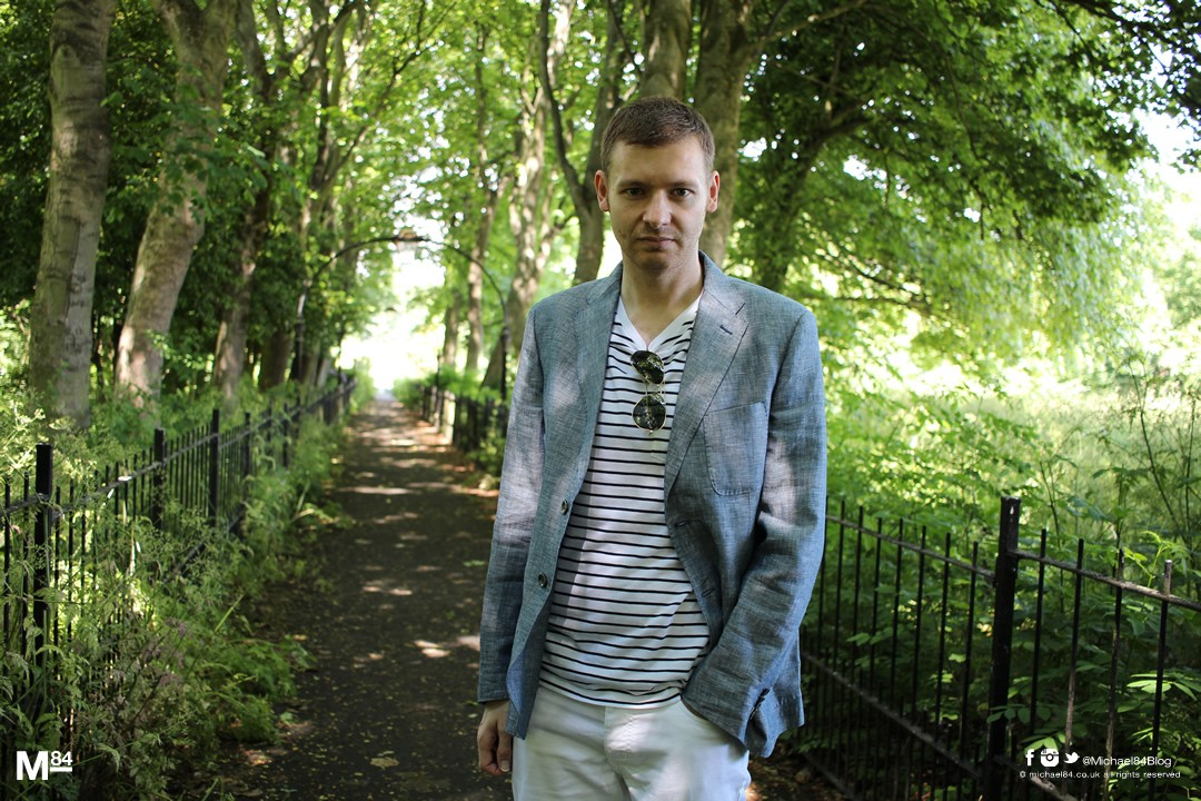 Summer Smart Casual Outfit - Linen Blazer, Nautical T Shirt, White Jeans