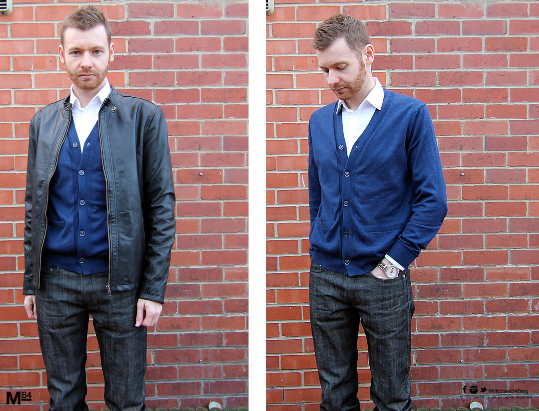 Smart Casual Outfit - Black jeans, blue cardigan, white shirt and black leather jacket